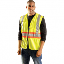 OccuNomix Premium Two-Tone Expandable Solid Safety Vest with Zipper  - Class 2