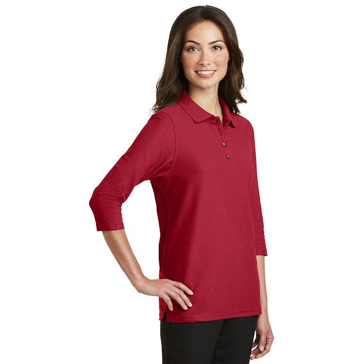 Port Authority® Ladies Silk Touch 3/4-Sleeve Polo