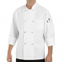 Chef Designs Eight Pearl Button Chef Coat w/Thermometer Pocket