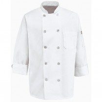 Chef Designs Ten Pearl Button Spun Poly Chef Coat w/Thermometer Pocket