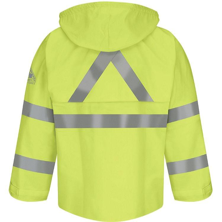 Bulwark FR Hi-Vis Flame Resistant Rain Jacket w/Roll-Up Hood HRC2