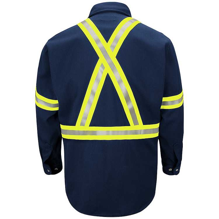 Bulwark Dress Uniform Shirt With CSA Reflective Trim - Excel FR Comfortouch - 7.0 oz. HRC2