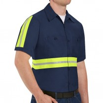 Red Kap Men's Enhanced Visibility Industrial Short Sleeve Work Shirt