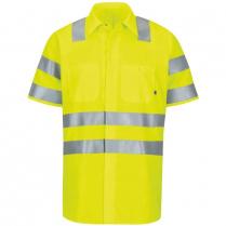 Red Kap Short Sleeve Hi-Visibility Ripstop Work Shirt With Mimix™ + Oilblok, Type R Class 3