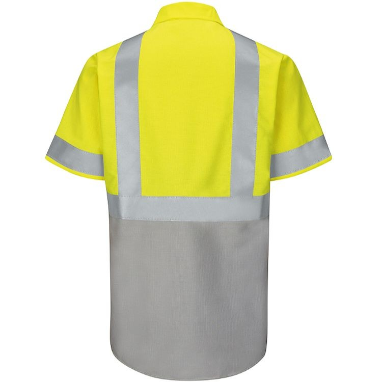 Red Kap Hi-Visibility Colorblock Class 2 Level 2 Short Sleeve Ripstop  Work Shirt