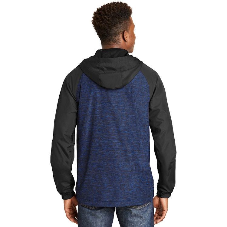 Sport-Tek® Heather Colorblock Raglan Hooded Wind Jacket