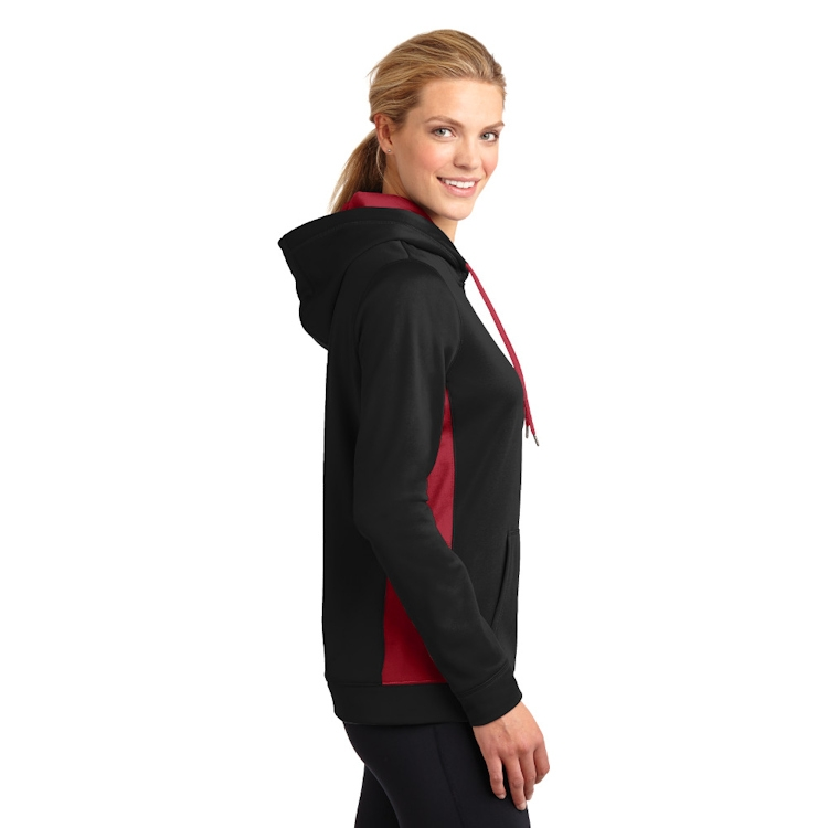 Sport-Tek® Ladies' Sport-Wick® Fleece Colorblock Hooded Pullover