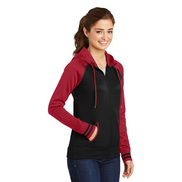 Sport-Tek® Ladies' Sport-Wick® Varsity Fleece Full-Zip Hooded Jacket