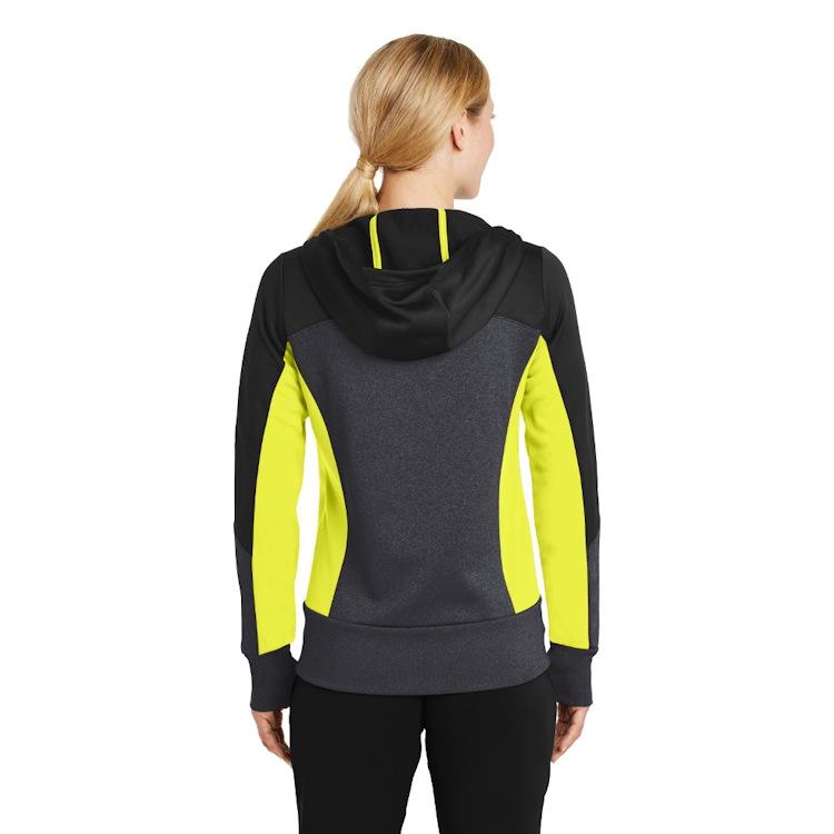 Sport-Tek® Ladies' Tech Fleece Colorblock Full-Zip Hooded Jacket