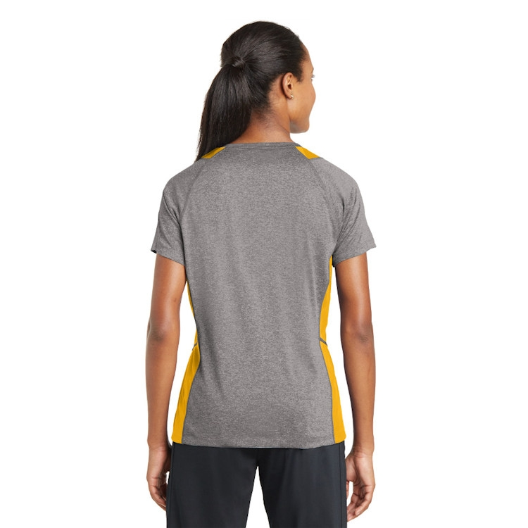 Sport-Tek® Ladies' Heather Colorblock Contender™ V-Neck Tee