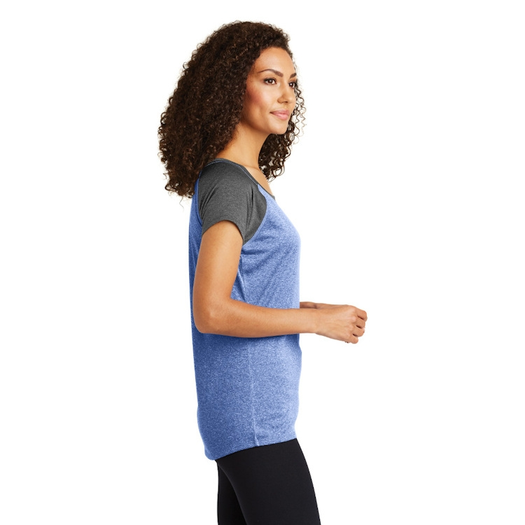 Sport-Tek® Ladies' Heather-On-Heather Contender™ Scoop Neck Tee
