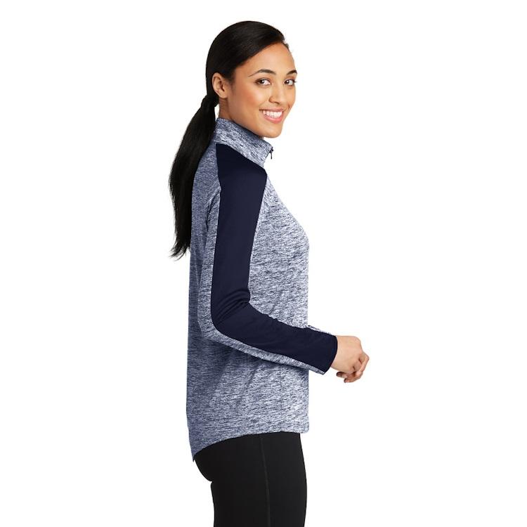 Sport-Tek® Ladies' PosiCharge® Electric Heather Colorblock 1/4-Zip Pullover