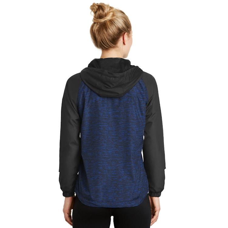 Sport-Tek® Ladies' Heather Colorblock Raglan Hooded Wind Jacket