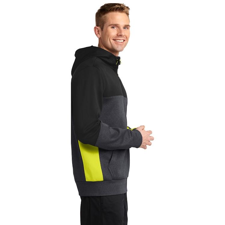 Sport-Tek® Tech Fleece Colorblock Full-Zip Hooded Jacket