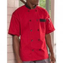 Uncommon Threads Bristol Short Sleeve 10 Black Button Easy Care Twill Chef Coat