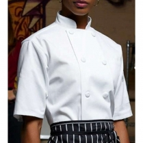 Uncommon Threads Tingo Short Sleeve with 10 Cloth Covered Button Chef Coat