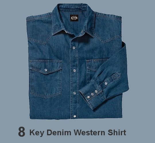 KEY DENIM LONG SLEEVE WESTERN SHIRT