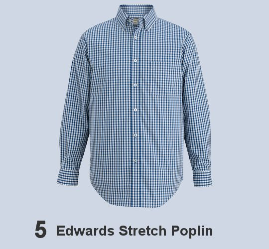 EDWARDS MEN'S LONG SLEEVE STRETCH POPLIN SHIRT