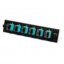 Century Fiber Optics Loaded 6 Pos SC Simplex Adapter Panel - Aqua