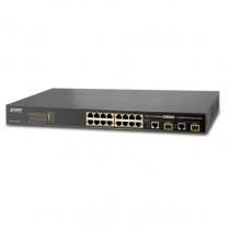 PLANET 16-Port 10/100TX 802.3at PoE + 2-Port Gigabit TP/SFP Combo
