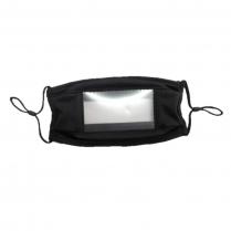 Smile Face Mask Reusable Antimicr Black-Clear Front (120/BX)