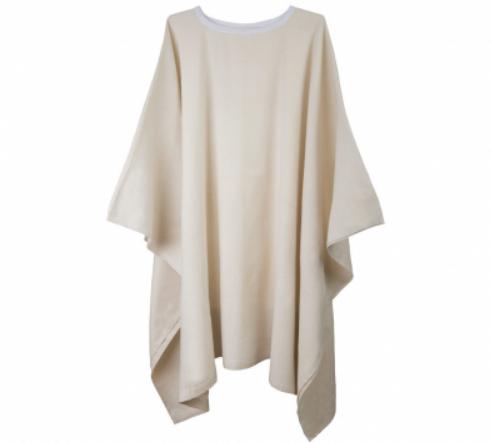 Poncho Unbleached/Natural (Beige) Bath Blanket