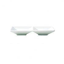FOH White Porcelain Two Compartment Dish Kyoto