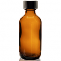 Bottle Amber With Black Cap