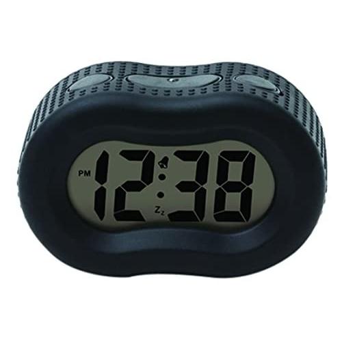Digital Black Rubber Alarm Clock Telli, Timelink Led Alarm Clock With Multi Color Display