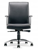 ZIP MIDBACK CONFERENCE CHAIR BLACK LEATHER