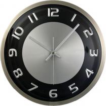 """TIMEKEEPER BR METAL WALL CLOCK 11.5"""" DIAM BLACK/SILVER"""