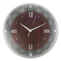 """CLOCK RND 12""""DRKWD FROST GLASS"""