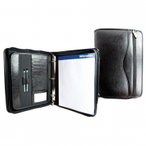 "LEATHER ZIPPER BINDER 1"" BLACK AUREX WINNABLE"