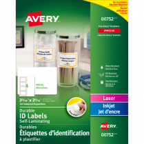 AVERY ID LABELS 3-5/16x2-5/16 20P EASY ALIGN SELF-LAMINATING