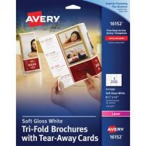 TRIF BROCURE W/TEAR AWAY CARDS WHITE 50SH/PACKG AVERY