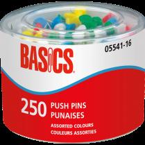 PUSH PINS BASICS ASSORTED 250/TUB