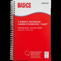 BASICS NOTEBOOK 1-SUBJECT 200pg RED 9-1/2x6 5/PK