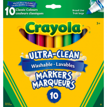 CRAYOLA MARKERS BROAD 10/PK CLASSIC WASHABLE