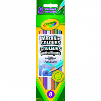 PENCIL CRAYONS METALLIC 8/ST CRAYOLA ASSORTED COLOURS