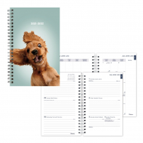 """BLUELINE ACADEMIC WEEKLY PLANNER 8"""" x 5"""" FURRY DOG JULY TO JULY"""