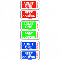 TICKET ADMIT/COUPON 1M/RL ASSORTED