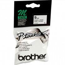 P-TOUCH M TAPE 9MM BK/WE BROTHER