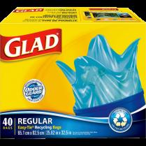 GLAD BLUE RECYCLED BAG 67L 40/BOX