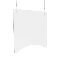 """HANGING BARRIER 2HOLE 24x24 2PACK 1/8"""" CLEAR POLYCARBONATE"""