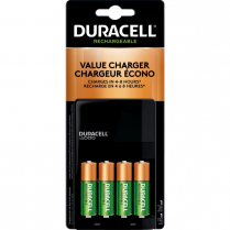 BATTERY CHARGER DURACELL VALUE W/4 AA PRECHARGED BATTERIES