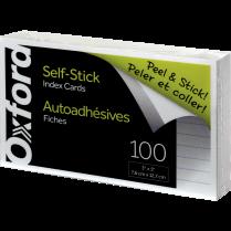 SELF STICK INDEX CARDS 3x5 WHT RULED 100/PKG OXFORD