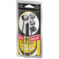 EARBUDS W MIC REMOTE BLACK MAXELL STEREO