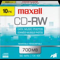 CD-RW MAXELL 700MB 1-4X 10/PACK