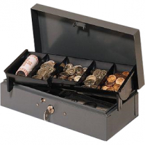 METAL BOND BOX w/ CASH TRAY GREY LOCKING
