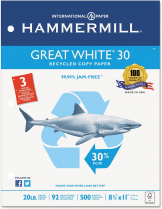 HAMMERMILL GREAT WHITE 30% RECYCLED PAPER LETTER 3-HOLE PUNCH 92 BRIGHT 500/REAM 20LBS